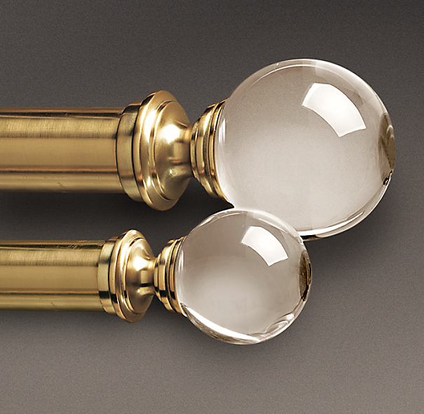 Estate Crystal Ball Finials Brass (Set of 2)