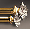 Estate Crystal Square Finials Brass (Set of 2)