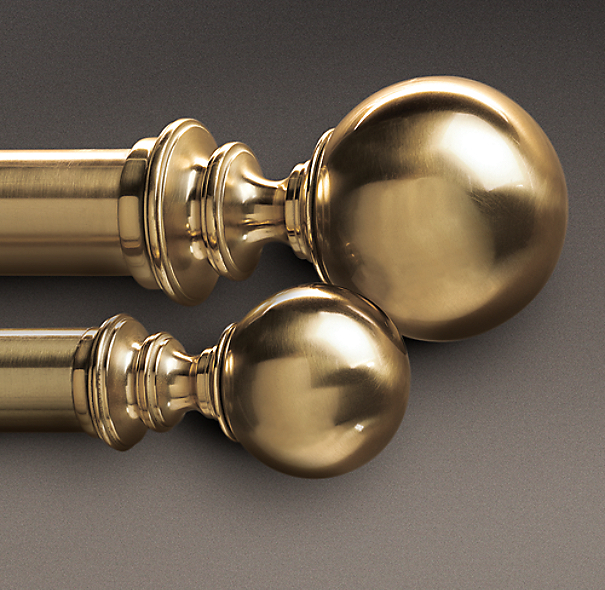 Estate Metal Ball Finials Brass (Set of 2)