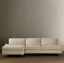 English Roll Arm Upholstered Left-Arm Sofa Chaise Sectional