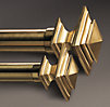Estate Metal Square Finials Brass (Set of 2)