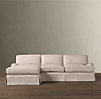 English Roll Arm Slipcovered Left-Arm Sofa Chaise Sectional