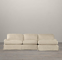 English Roll Arm Slipcovered Right-Arm Sofa Chaise Sectional