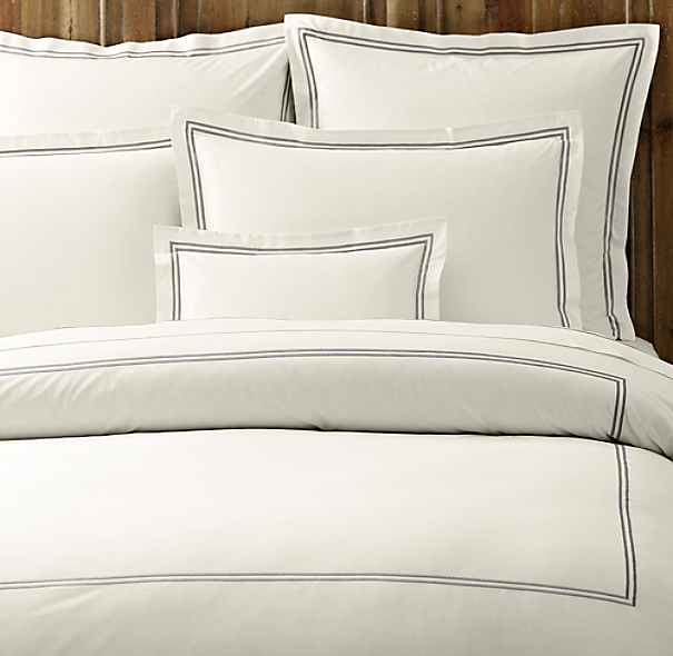 Italian Hotel Satin Stitch Bedding Ivory Collection