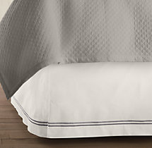 Italian Hotel Satin Stitch Ivory Bed Skirt