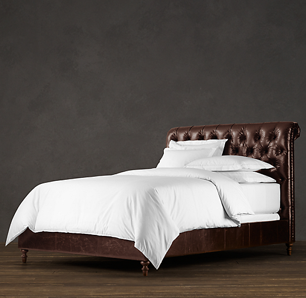 Chesterfield Leather Sleigh Bed Without Footboard