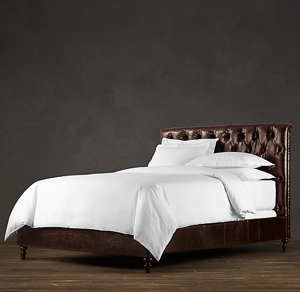 Chesterfield Leather Panel Bed Without Footboard