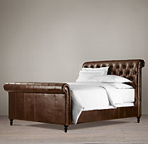 "56"" Chesterfield Leather Sleigh Bed With Footboard"