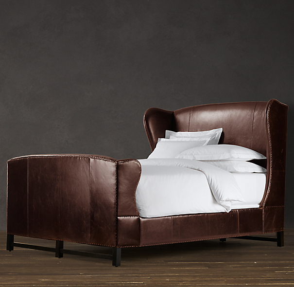 French Wing Leather Bed