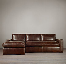 Maxwell Leather Left-Arm Sofa Chaise Sectional