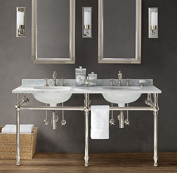 Gramercy Double Metal Washstand with Backsplash