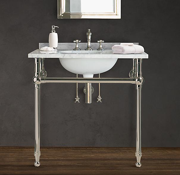 gramercy single metal washstand with backsplash