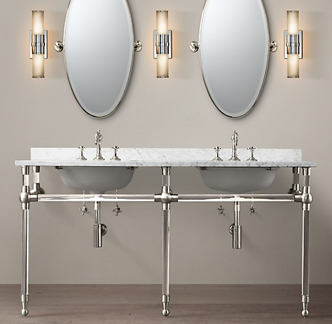 Gramercy Double Glass Washstand With Backsplash