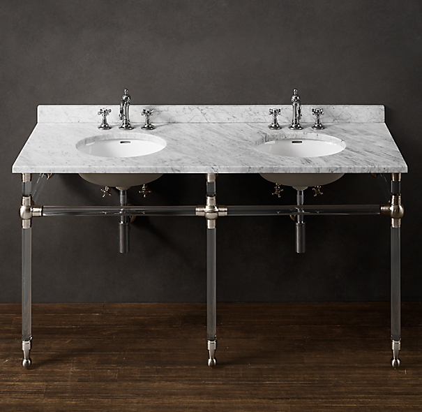Gramercy Double Glass Washstand with Backsplash