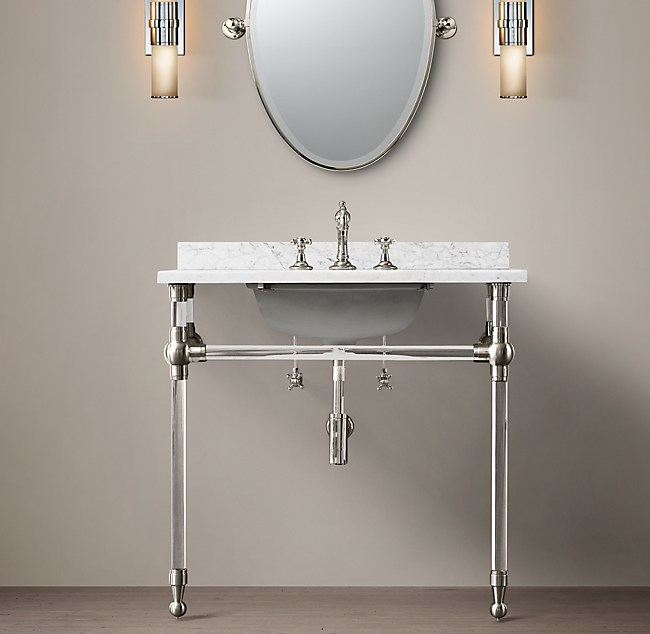 Gramercy Single Glass Washstand With Backsplash