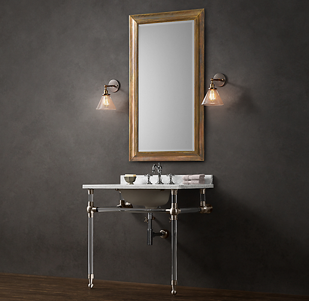 Gramercy Single Glass Washstand with Backsplash