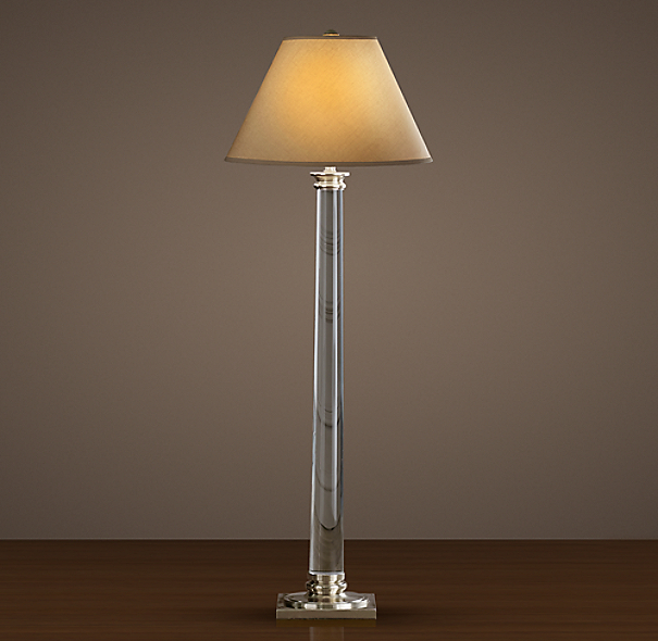 Chelsea Column Floor Lamp Polished Silver Plate