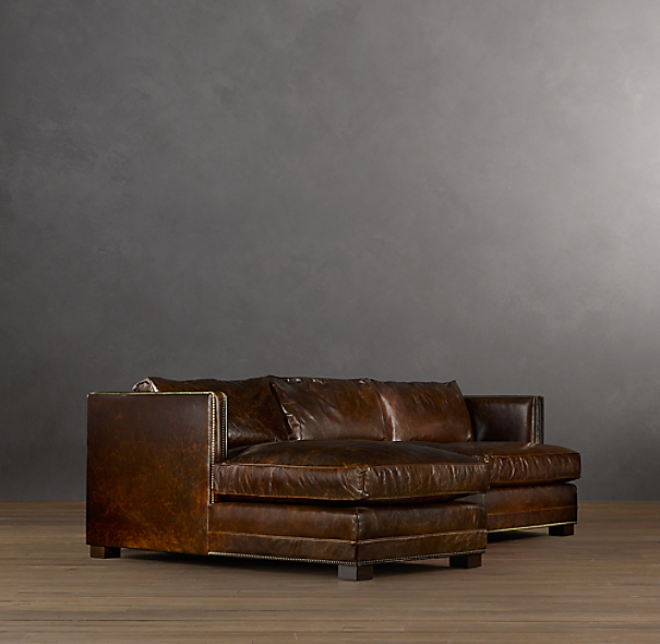 Easton leather left arm sofa chaise sectional for Easton leather sectional sofa