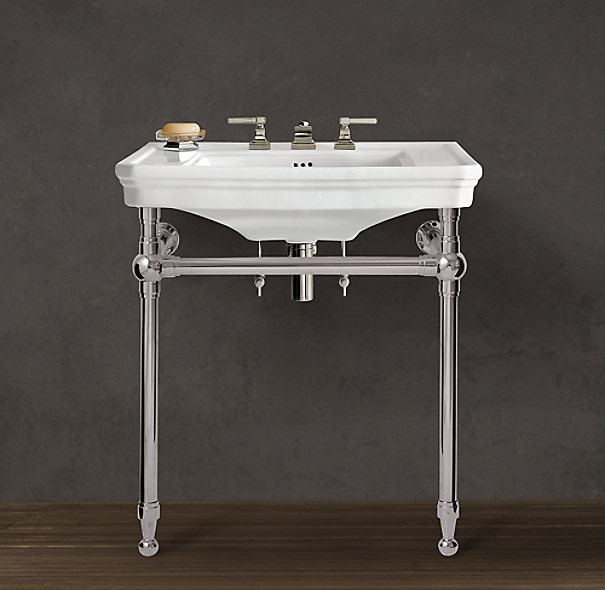 Bathroom Sink Consoles : Shown in polished nickel. Featured with Dillon Lever-Handle 8 ...