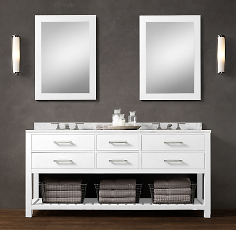 6 Finishes: double sink washstand