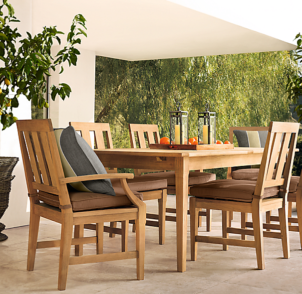 Santa Monica Rectangular Extension Dining Set  (Set of Table 2 Armchairs and 4 Side Chairs)