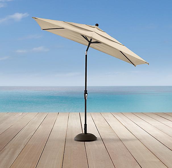 Aluminum rectangular umbrella bronze rfb for Restoration hardware outdoor umbrellas