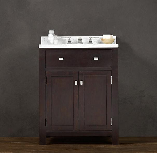 Hutton powder room vanity sink dark espresso for Powder room vanity sink cabinets