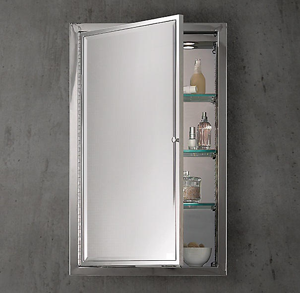 Framed Lit Right Opening Inset Medicine Cabinet