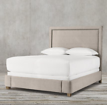 Wallace Upholstered Bed With Brushed Nickel Nailheads