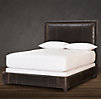 Wallace Leather Bed With Brushed Nickel Nailheads