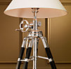 Royal Marine Tripod Floor Lamp Polished Aluminum and Black