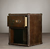 "17"" Mayfair Steamer Cube with Drawers Vintage Cigar Leather"
