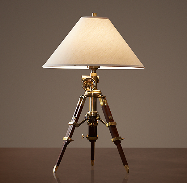 Royal Marine Tripod Table Lamp Antique Brass and Brown
