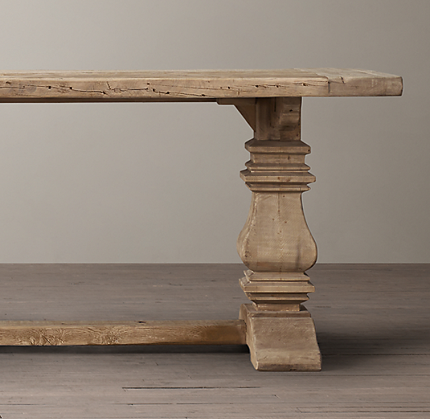 Salvaged Wood Trestle Extension Dining Tables