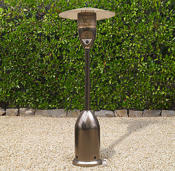 Deluxe Floor Propane Patio Heater Polished Stainless Steel