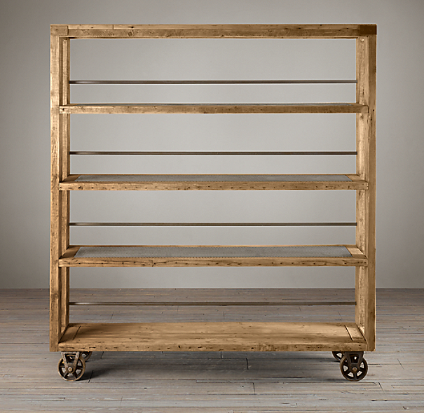 Salvaged Wood and Steel Shelving