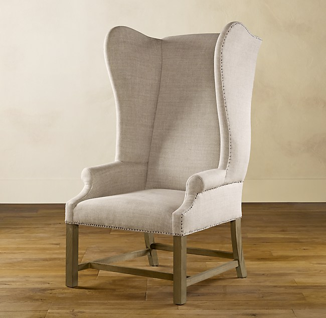 French Upholstered Wing Chair, by Restoration Hardware