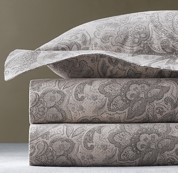 Italian Antiqued Floral Duvet Cover