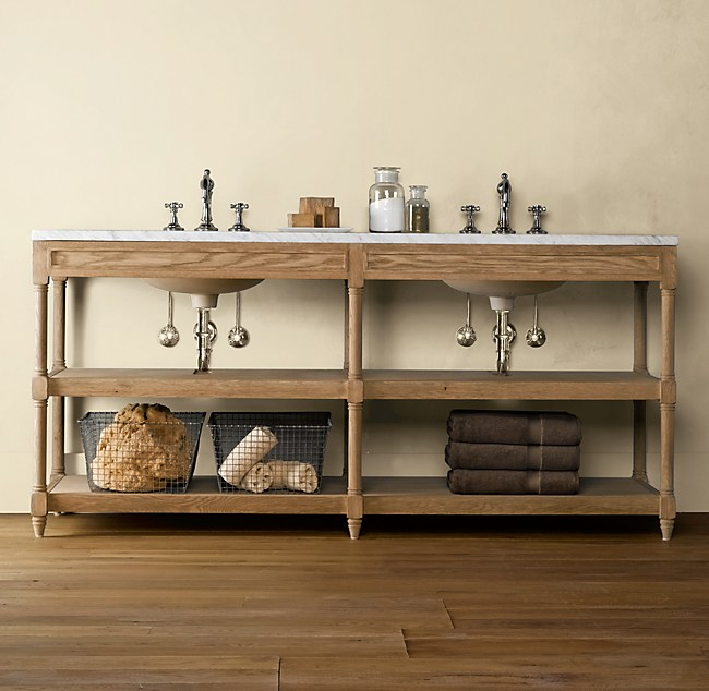 Weathered Oak Double Washstand