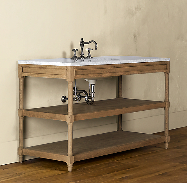 Weathered Oak Extra-Wide Single Washstand