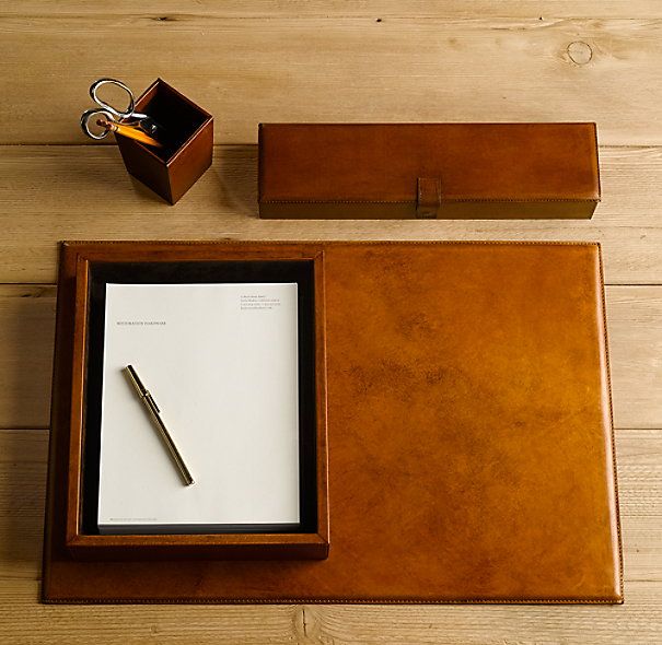 Artisan Leather Letter Tray Chestnut
