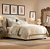 Warner Upholstered Bed with Antique Brass Nailheads Without Footboard