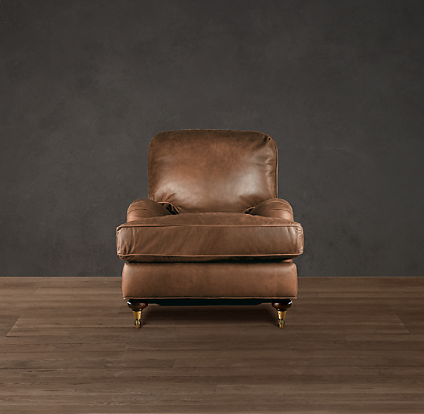 English Roll Arm Leather Chair