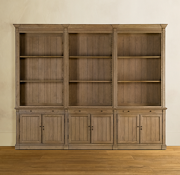 Library Triple Bookcase Brown