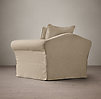 Camelback Slipcovered Swivel Chair