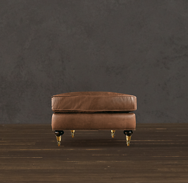 English Roll Arm Leather Ottoman