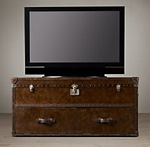 Mayfair Steamer Media Trunk Vintage Cigar Leather