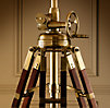 Royal Marine Tripod Floor Lamp Antique Brass and Brown
