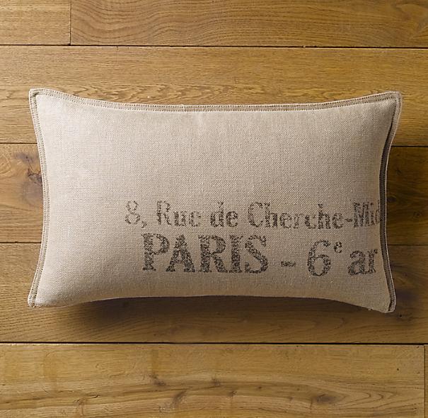 Restoration Hardware Address: Paris Address Pillow Cover Lumbar