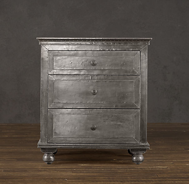 "26"" Zinc Nightstand  (Set of 1 Closed and 1 Open)"